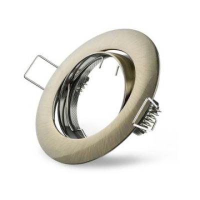 Metall-Einbaustrahler -Messing grün gebürstet- schwenkbar  DA 68mm