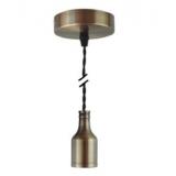 Pendelleuchte Textilkabel schwarz gedreht mit Metall-Lampenfassung bronze E27 Baldachin Metall V1