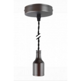Pendelleuchte Textilkabel schwarz gedreht mit Metall-Lampenfassung schwarz matt E27 Baldachin Metall V1