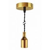 Pendelleuchte Textilkabel schwarz gedreht mit Metall-Lampenfassung gold E27 Baldachin Metall V1