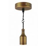 Pendelleuchte Textilkabel schwarz gedreht mit Metall-Lampenfassung bronze braun matt E27 Baldachin Metall V1