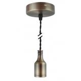 Pendelleuchte Textilkabel schwarz gedreht mit Metall-Lampenfassung bronze matt E27 Baldachin Metall V1