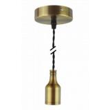 Pendelleuchte Textilkabel schwarz gedreht mit Metall-Lampenfassung bronze braun E27 Baldachin Metall V1